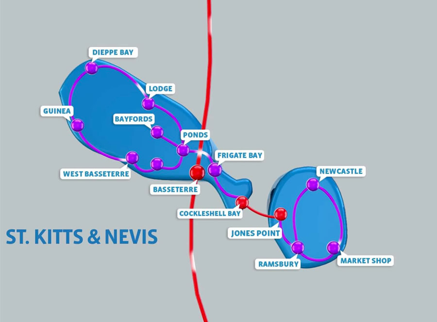 Network Map for St. Kitts & Nevis